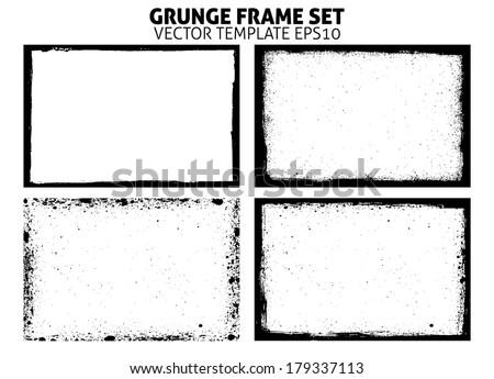 Grunge frame set. vector template - stock vector