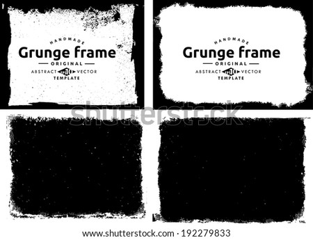 Grunge frame set. vector template texture - stock vector