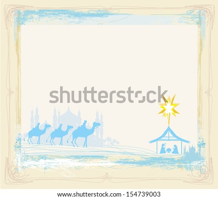 grunge frame with  traditional Christian Christmas Nativity scene with the three wise men  - stock vector
