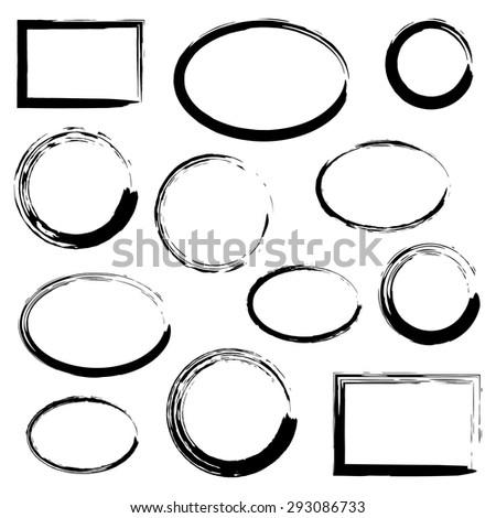 Grunge frames set, black isolated on white background, vector illustration. - stock vector