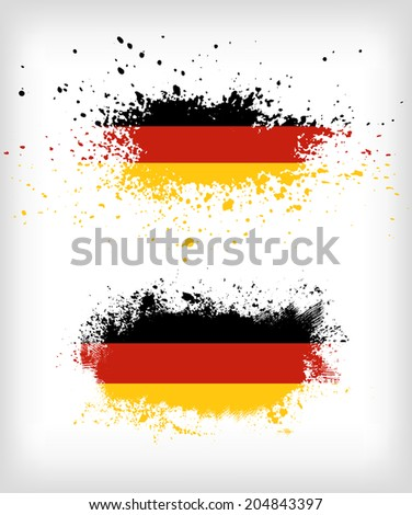 Grunge german ink splattered flag vectors - stock vector