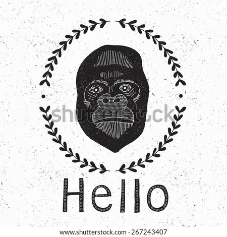 Grunge gorilla card. Vector illustration. - stock vector