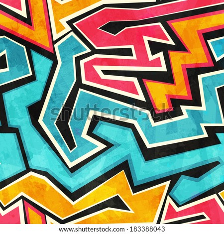 grunge graffiti seamless texture - stock vector