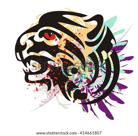 Grunge growling tiger head. Flaming tiger head with feathers and blood drops  - stock vector