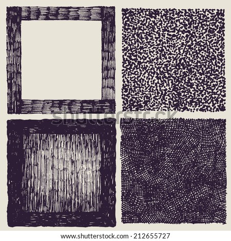 grunge halftone drawing textures set. vector illustration - stock vector