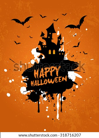 Grunge Halloween background with spooky house and bats - stock vector