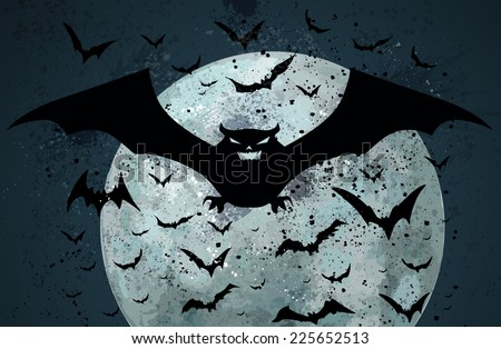Grunge Halloween bat background - stock vector