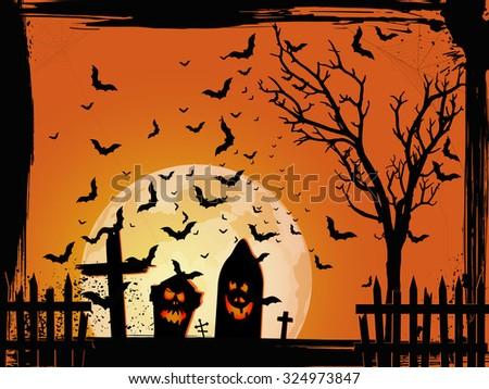 Grunge Halloween cemetery background - stock vector