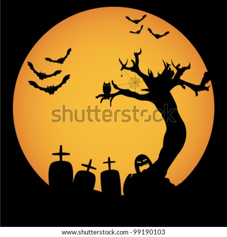 Grunge Halloween night background - stock vector