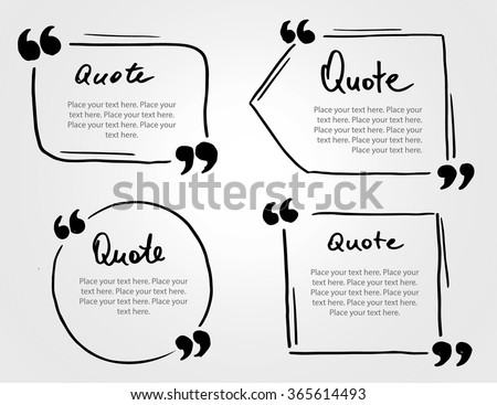 Grunge hand drawn marker blank quote template. Quote bubble with Lettering and calligraphy . Circle business card, paper sheet, information, text collection. Print design form. Vector set illustration - stock vector