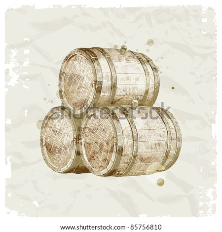 Grunge hand drawn wooden barrels on vintage paper background - vector illustration - stock vector