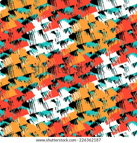 Grunge hand painted abstract pattern with bold textured brushstrokes in bold bright various colors, black, red, orange, turquoise, white. Seamless vector for winter fall fashion - stock vector