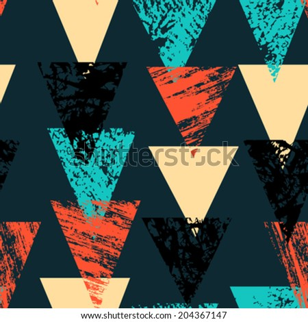 Grunge hand painted bold pattern with textured triangles in bright multiple colors, seamless vector. - stock vector