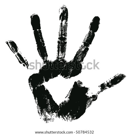 grunge hand print on a white - stock vector