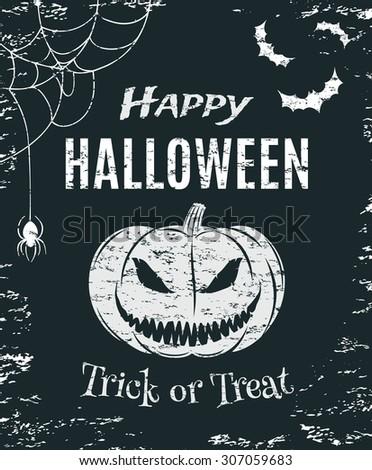 Grunge, Happy Halloween, poster template. T-shirt graphics. Vector illustration. - stock vector