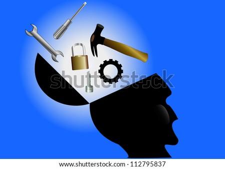Grunge head - stock vector