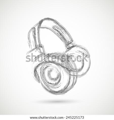 Grunge Headphones, easy all editable - stock vector