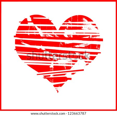grunge heart graphic design - stock vector