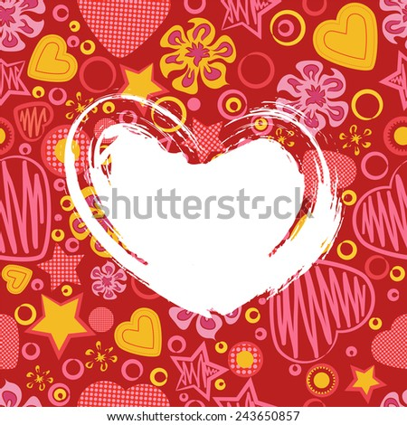 Grunge Heart on Seamless Pattern with Flowers, Hearts and Stars. Greeting card. Happy Valentine's Day. Suitable for various designs, invitation and scrapbook. Vector illustration. EPS 10 - stock vector