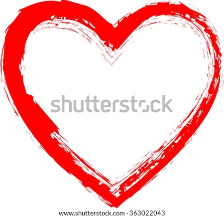 Grunge Heart . Red Heart . Heart Shape. Distressed Heart . Heart Texture. Valentine's Day Heart . Heart Background . Brush Stroke Heart . Vector Heart . - stock vector