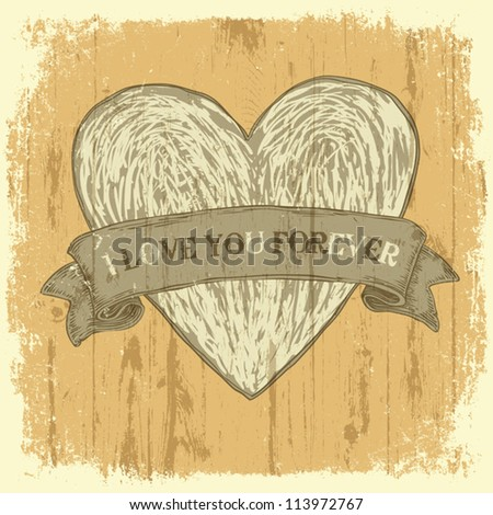 Grunge heart with ribbon. Vintage background, vector. - stock vector