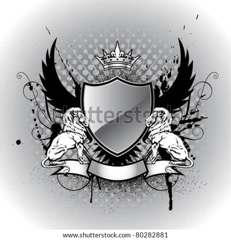 Grunge heraldry shield with lion - stock vector