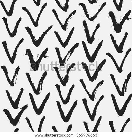 Grunge herringbone pattern in black and white. Monochrome vector seamless pattern. Abstract hand drawn background with brushed V symbol. - stock vector