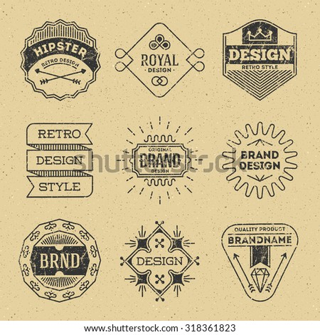 Grunge Hipster Retro Design Insignias Logotypes Set 9. Lo-Fi Vector Vintage Elements. Cardboard Texture. - stock vector