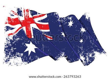 Grunge illustration of a waving Australian flag against white background, with clipping path - stock vector