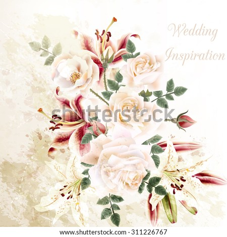 Grunge illustration with beautiful roses and lily flowers wedding or anniversary background - stock vector