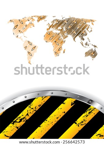 Grunge industrial design with scribbled world map - stock vector