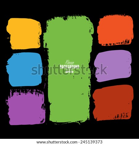 Grunge ink hand-drawn colorful squares - stock vector