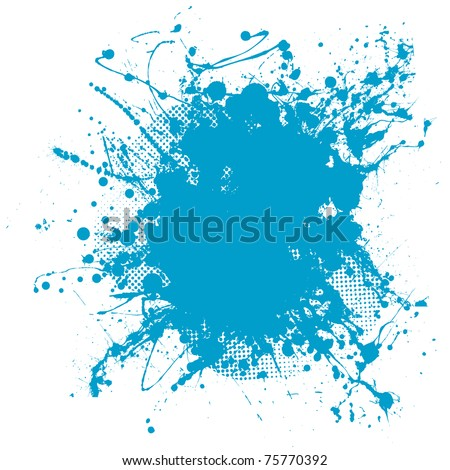 Grunge ink splat background blob with halftone dots - stock vector