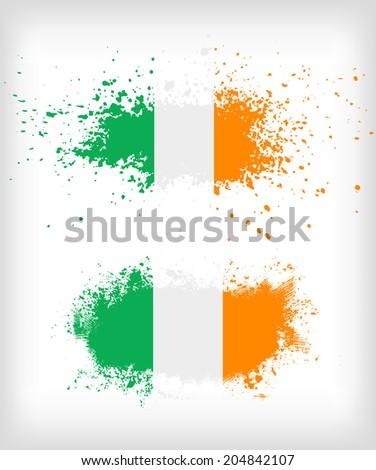 Grunge Irish ink splattered flag vectors - stock vector