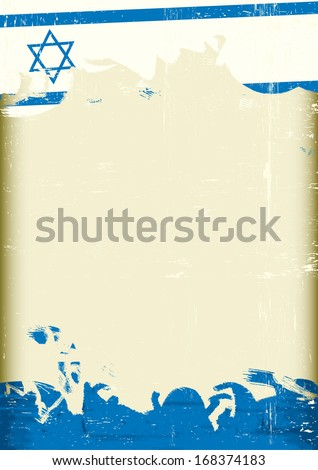 Grunge Israeli flag. An Israeli flag with a large frame for your message - stock vector