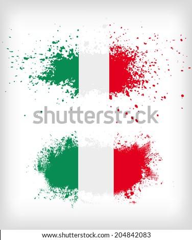 Grunge italian ink splattered flag vectors - stock vector