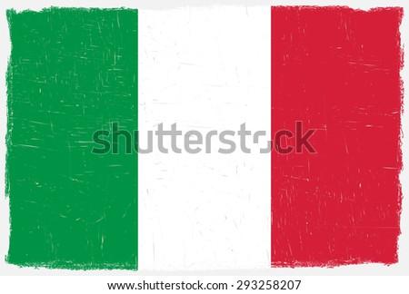 Grunge Italy flag.Italian flag with grunge texture.Vector template. - stock vector