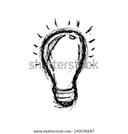 grunge light bulb in doodle style - stock vector