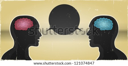 Grunge Man And Woman Communication Background/ Illustration of a grunge vintage abstract banner with man and woman brains inside silhouettes and speech bubble between them - stock vector