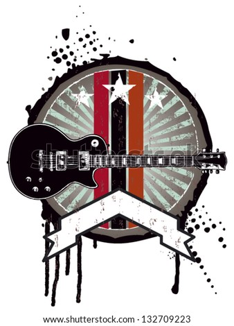 grunge music shield with guitar and banner - stock vector