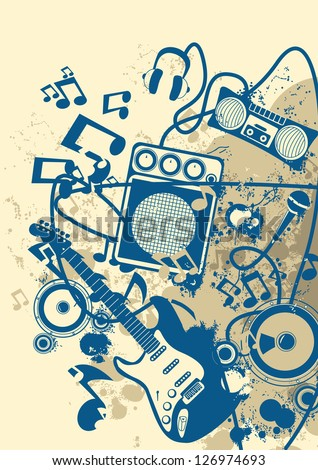 Grunge Musical Background - stock vector