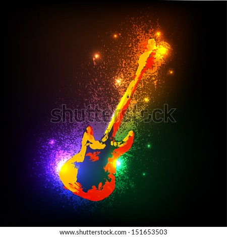 Grunge musical instruments on black. Guitar - stock vector