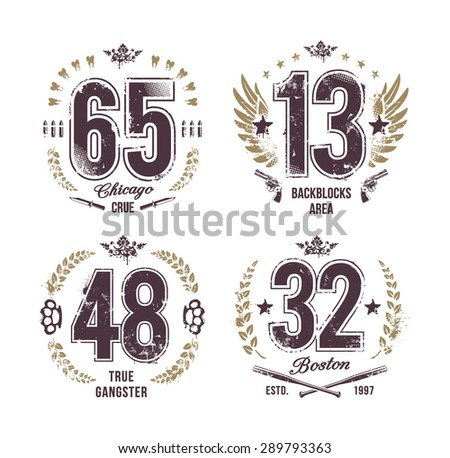 Grunge numbers. Gangster style t-shirt prints. Vector arts. - stock vector
