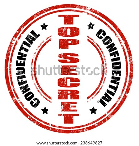 Grunge office rubber stamp with the text Top Secret written inside the stamp,vector illustration - stock vector