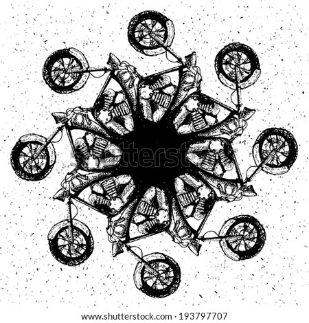 Grunge old bikes - vector Illustration. - stock vector