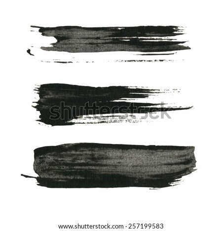 Grunge paint black ink brush background - stock vector