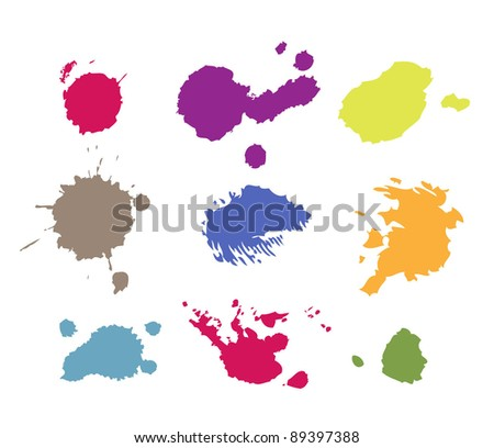 grunge paint splashes drips and splatter - stock vector