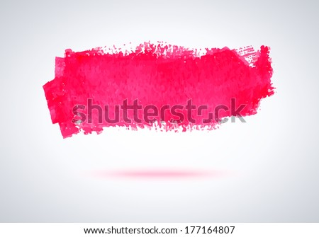 Grunge pink paint brush stroke for design. Abstract background. - stock vector