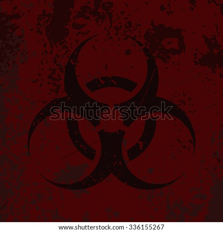 "Grunge poster ""Biohazard"". Vector illustration of sign ""Bio hazard"" on grunge red background. It can be used as a poster, wallpaper, t-shirts design. - stock vector"