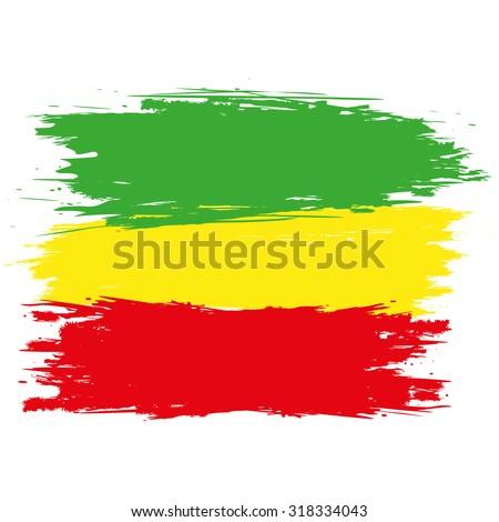 Grunge rasta flag as a background, vector illustration - stock vector